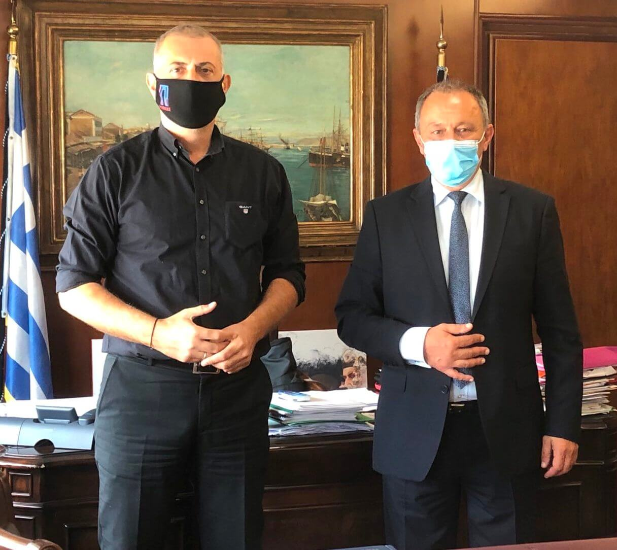 Συνάντηση Δημάρχου Πειραιά, Γιάννη Μώραλη, με τον Δήμαρχο Τροιζηνίας-Μεθάνων, Σπύρο Πολλάκη