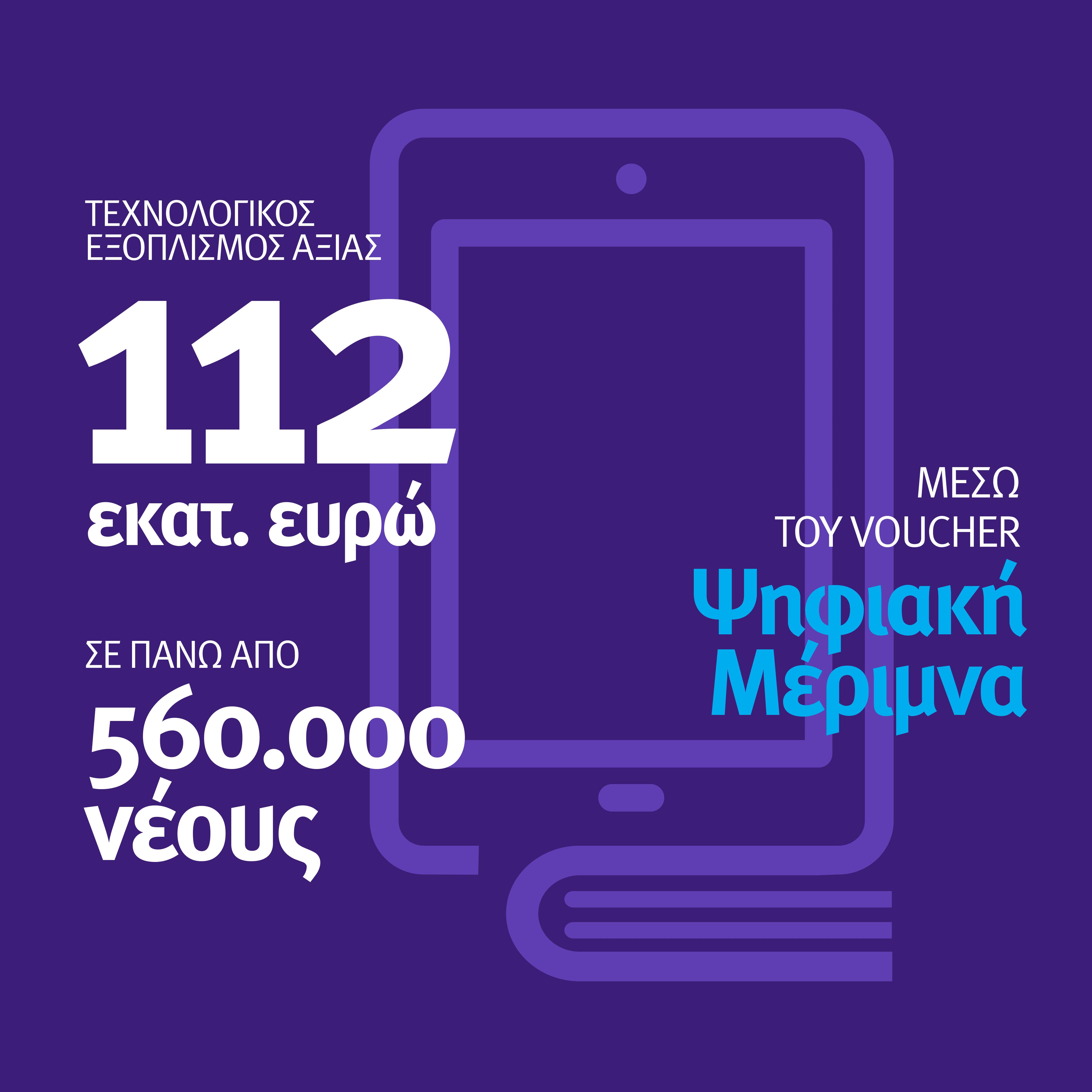 Τεχνολογικός εξοπλισμός ύψους 112 εκατ. ευρώ σε 560.000 νέους μέσω voucher