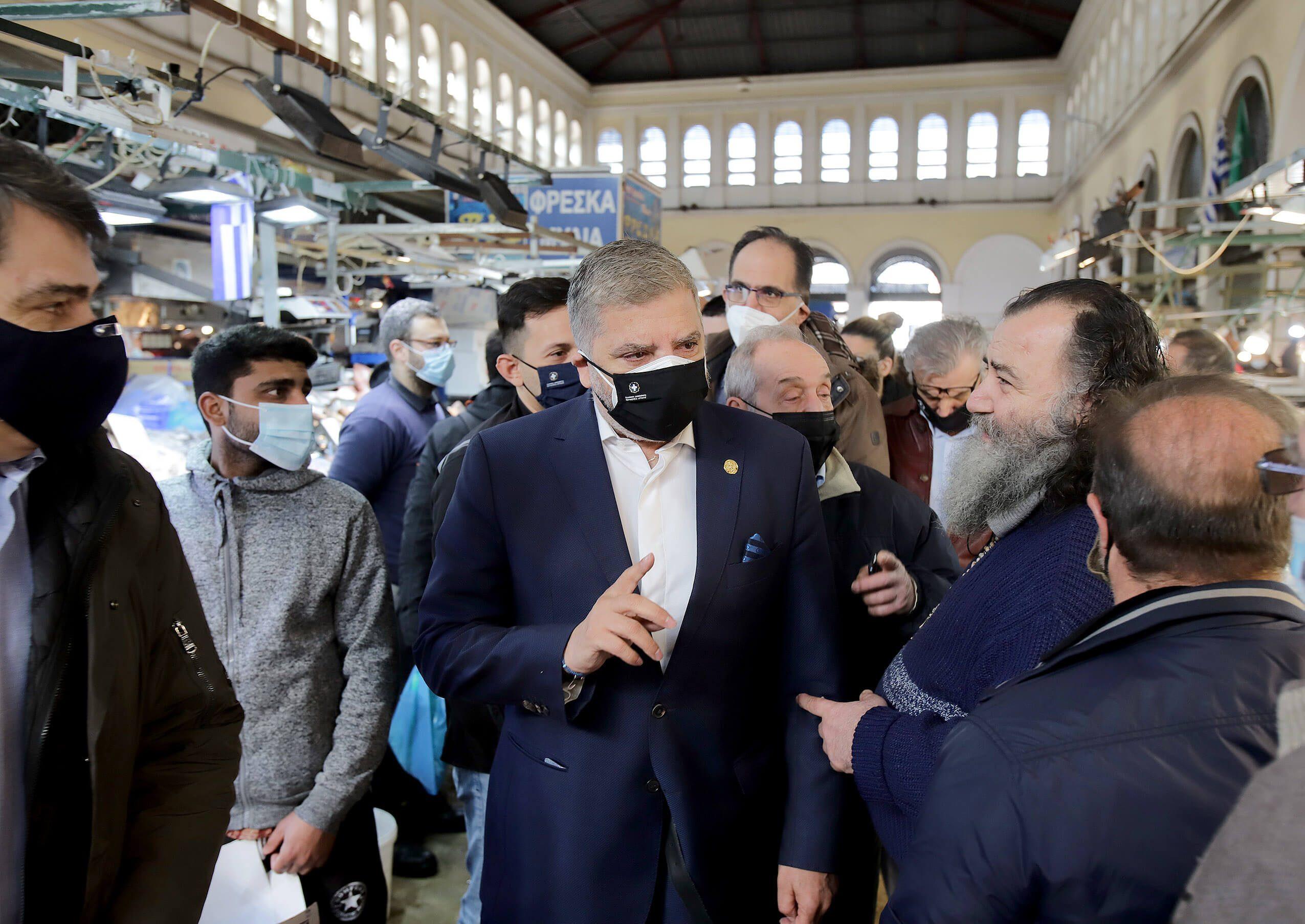 Επίσκεψη του Περιφερειάρχη Αττικής Γ. Πατούλη στη Βαρβάκειο Αγορά